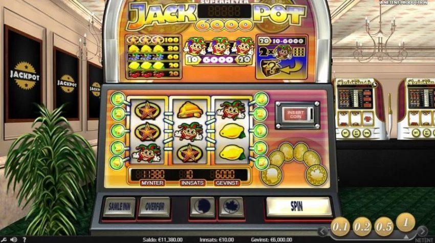 Jackpot6000 spilleautomat norgesautomaten