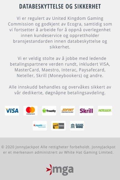 Jonny Jackpot betalingsmetoder