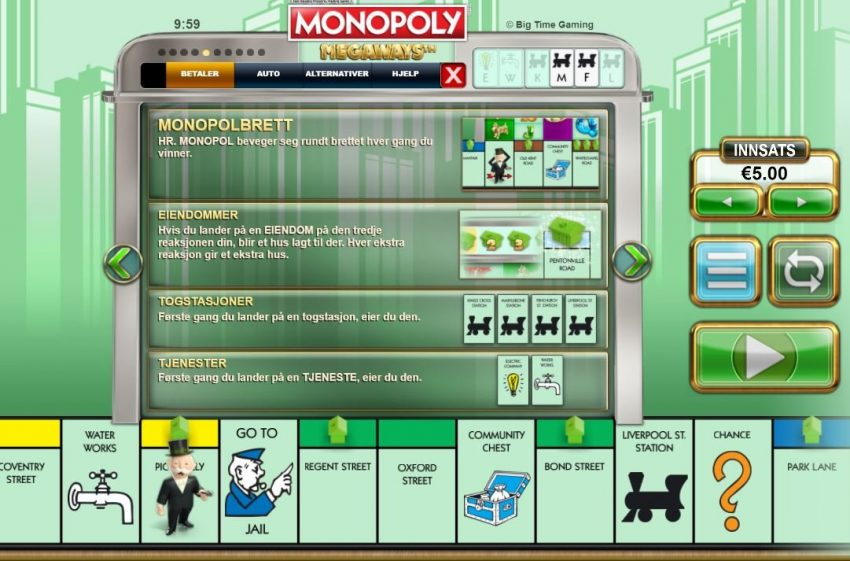 Monopoly Megaways Funksjoner