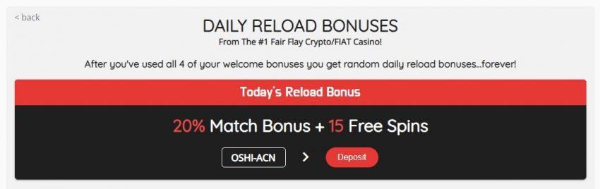 Oshi Casino Reload Bonus