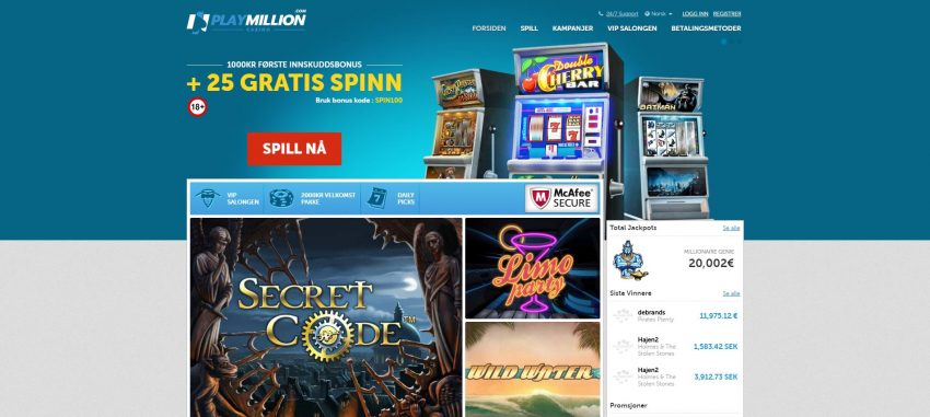 PlayMillion Casino Screenshot